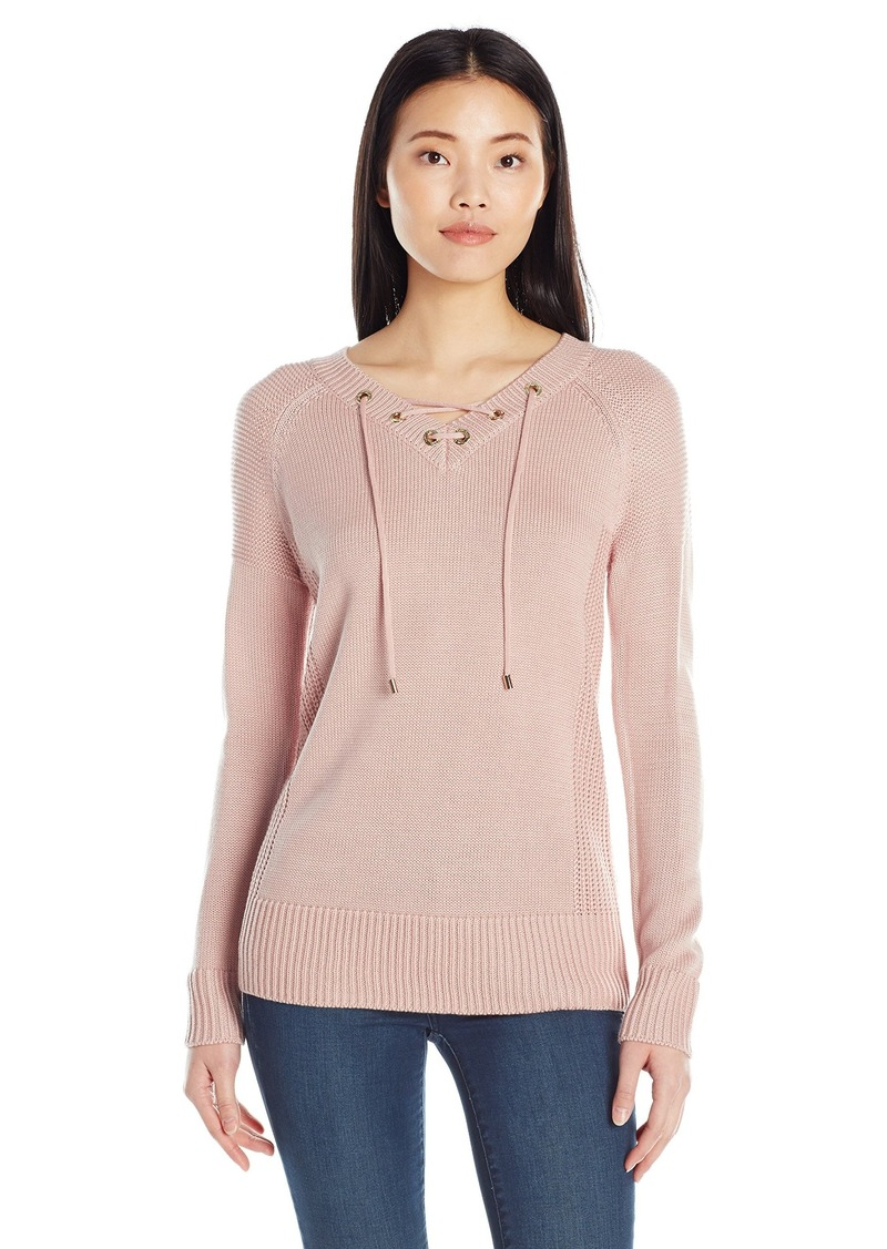 Calvin Klein Women's V-Neck Lace up Sweater  M