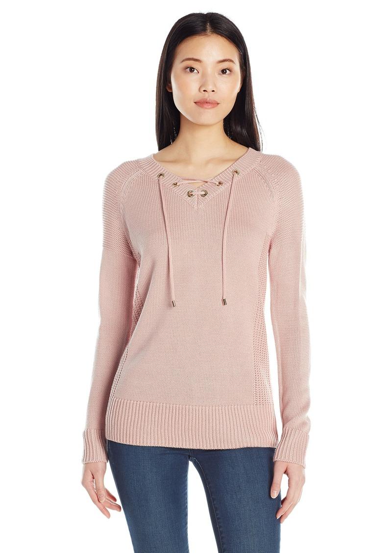 Calvin Klein Women's V-Neck Lace up Sweater  XL