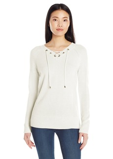 Calvin Klein Women's V-Neck Lace up Sweater  L