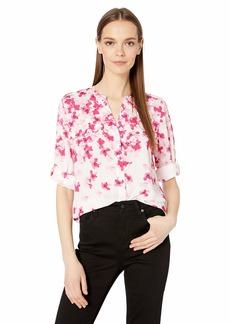Calvin Klein Women's V-Neck Roll Sleeve Blouse