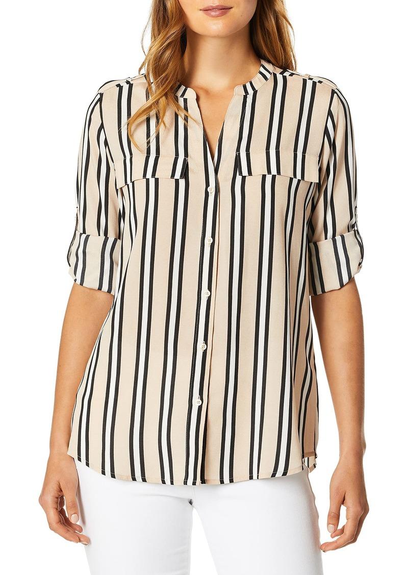 Calvin Klein Women's V-Neck Roll Sleeve Top