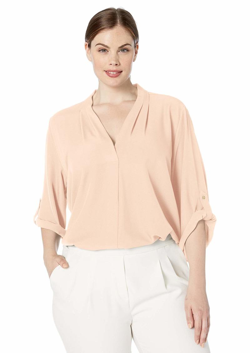 Calvin Klein Women's V-Neck Roll Sleeve Tunic Blouse