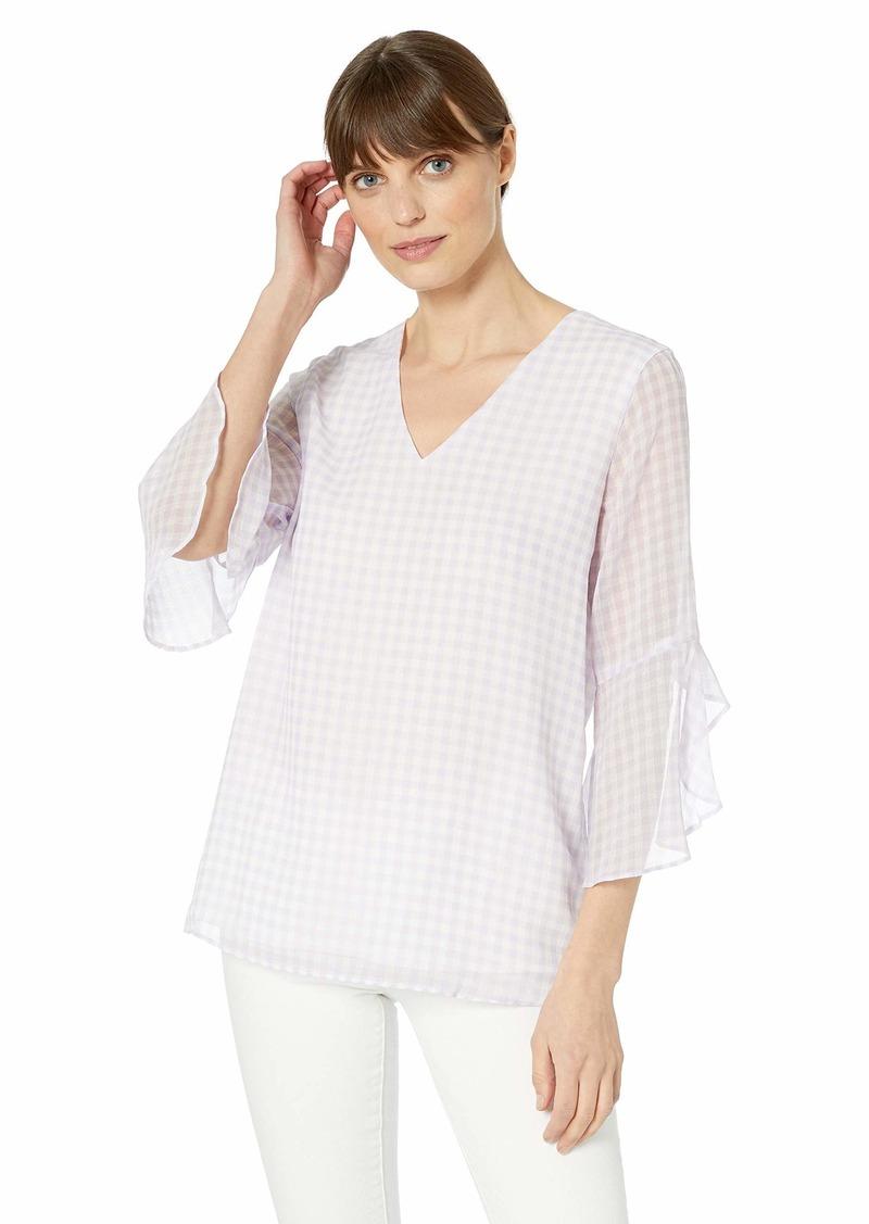 Calvin Klein Women's V-Neck Ruffle Bell Sleeve Blouse