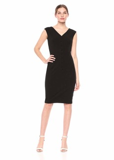 Calvin Klein Women's V Neck Sheath with Center Front Buttons Dress