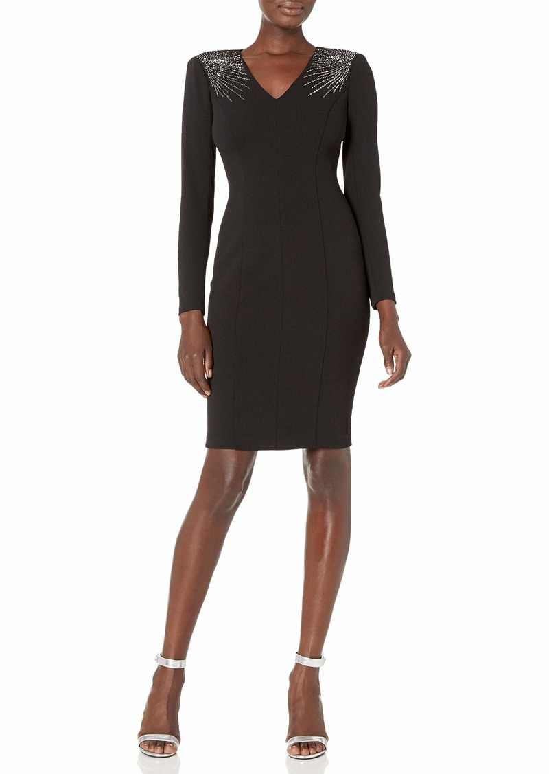 Calvin Klein Women's V-Neck Sheath with Embellished Shoulders