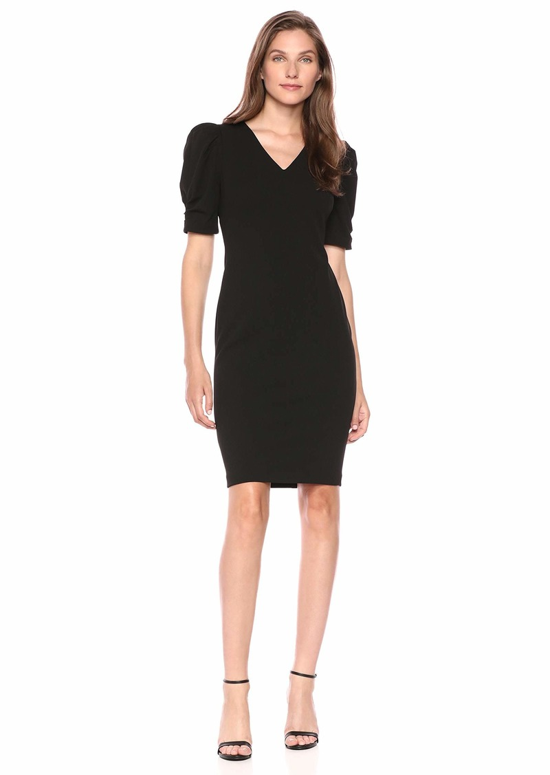 Calvin Klein Women's V-Neck Sheath with Ruched Sleeves Dress