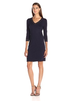 Calvin Klein Women's V-Neck Sweater Dress with Hot Fix Detail