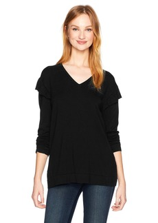 Calvin Klein Women's V-Neck Sweater with Ruffle AT Sleeve  XS