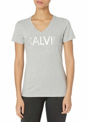Calvin Klein Women's V-Neck T-Shirt PEARL GREY HEATHER