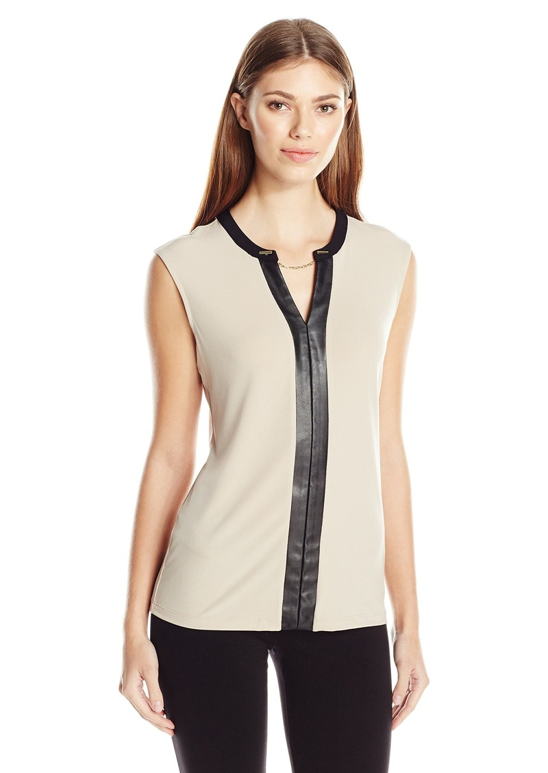 Calvin Klein Women's V-Neck Tank with Faux Leather and Chain