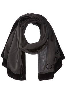 Calvin Klein Women's Velvet Border Burnout Scarf Accessory -black one size