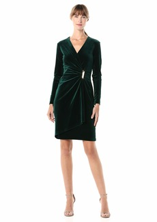 Calvin Klein Women's Velvet Long Sleeve Faux Wrap Dress