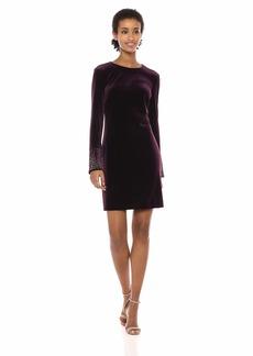 Calvin Klein Women's Velvet Sheath with Embellished Long Sleeve