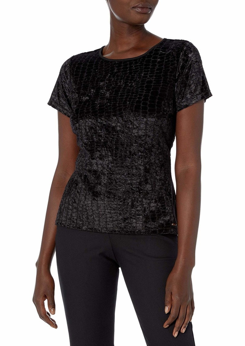Calvin Klein Women's Velvet Textured Short Sleeve Top  XL