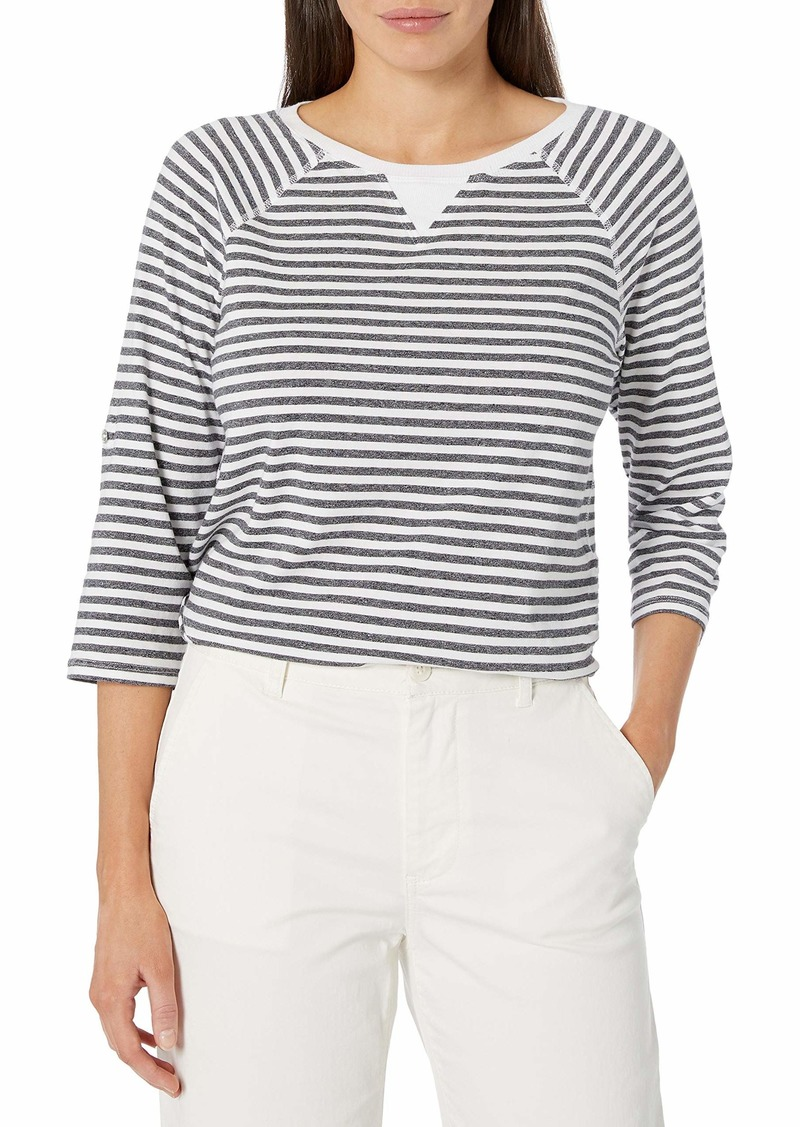 Calvin Klein Women's Venice Beach Stripe 3/4 Sleeve Roll Tab