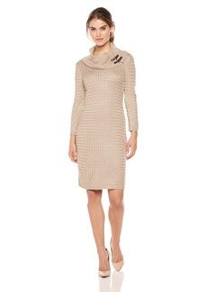 Calvin Klein Women's Waffle Knit Turtleneck Sweater Dress  L