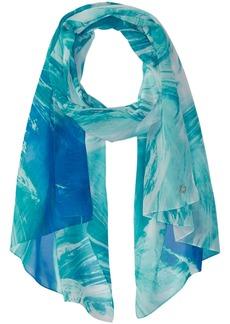 Calvin Klein Women's Wave Print Chiffon Scarf Accessory -atlantis one size