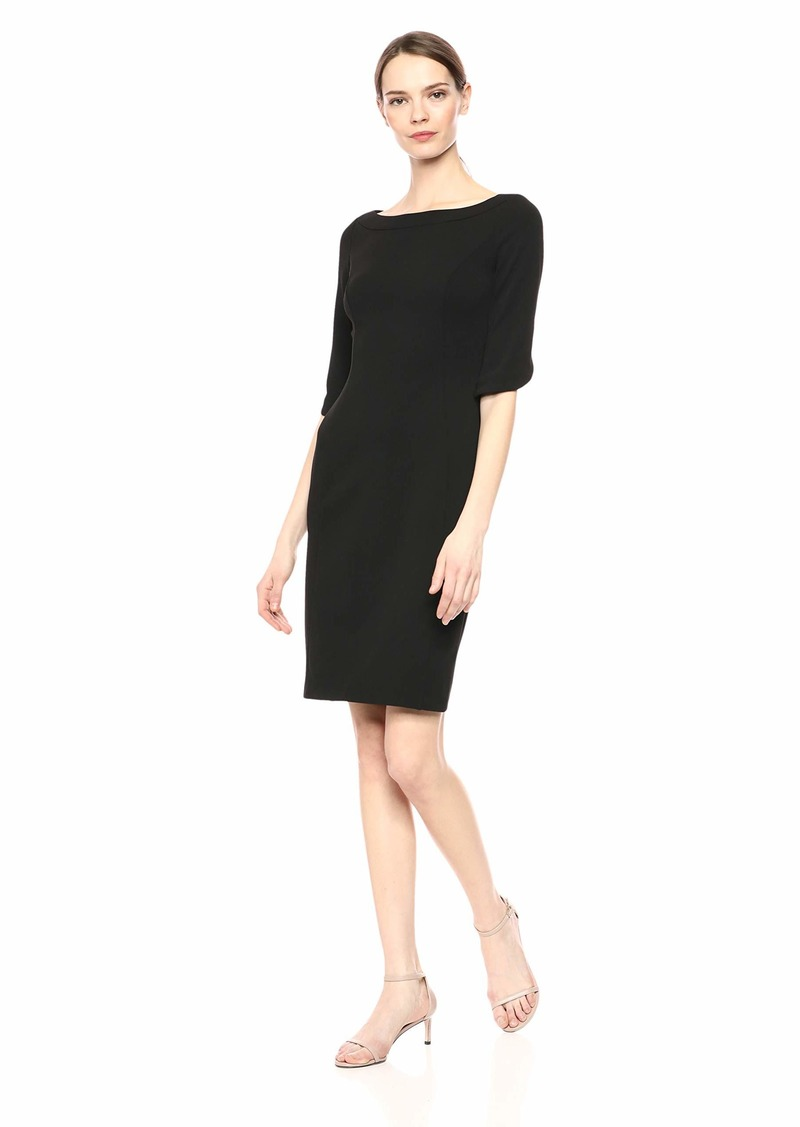 Calvin Klein Women's Wide Neck Sheath with Three Quarter Tulip Sleeve