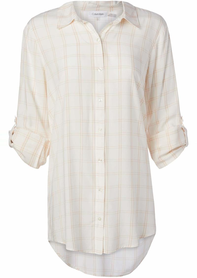 Calvin Klein Women's Window Check Tunic WHT/BLSH Extra Large