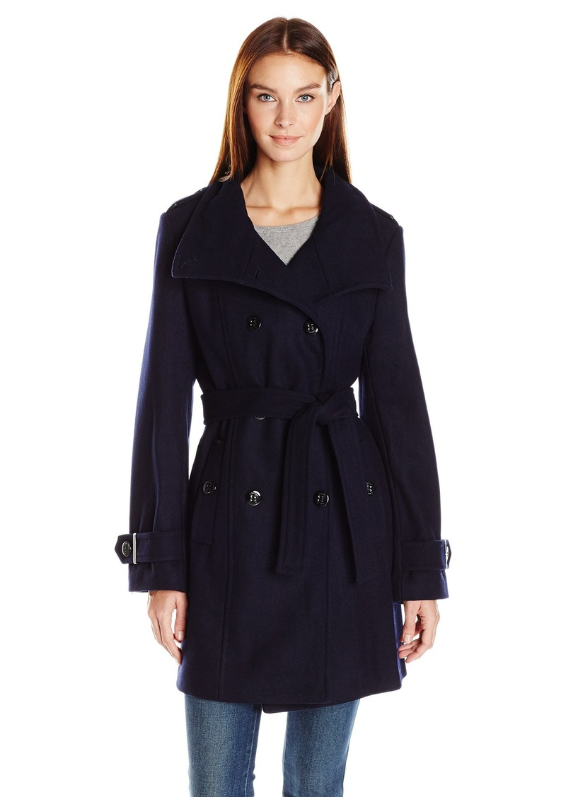 Calvin Klein Women's Wool Belted Double Breasted Coat  L