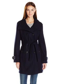 Calvin Klein Women's Wool Belted Double Breasted Coat  XS