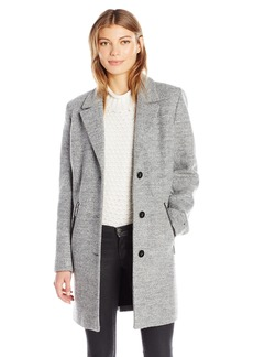 Calvin Klein Women's Wool Boucle Coat with PU Trim  S