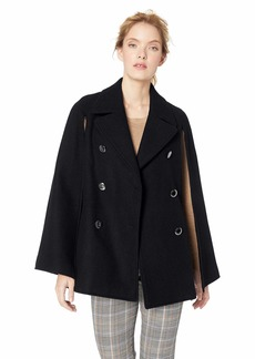 Calvin Klein Women's Wool Cape with Large Double Breasted Buttons and Notched Collar  S/M