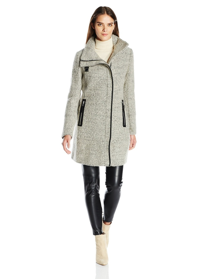 Calvin Klein Womens Wool Coat With Pu Trim And Stand Collar Asymmetric Zipper L