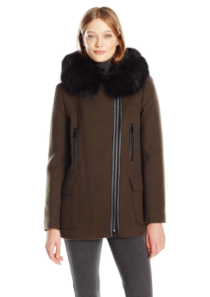 Calvin Klein Women's Wool Coat with Pu Trim  L