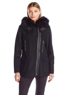 Calvin Klein Women's Wool Coat with Pu Trim  M