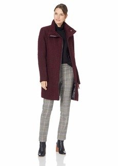 Calvin Klein Women's Wool Coat with Tunnel Collar and pu Trim SNAP BAR Detail at Neck  XL