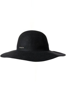 Calvin Klein Women's Wool Felt Floppy Hat with Logo Plate