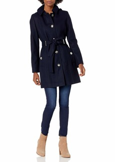 Calvin Klein Women's Wool with Button Front and Belt NVY L