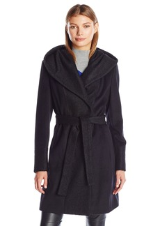 Calvin Klein Women's Wool Wrap Coat with Detachable Belt and Oversized Collar  L