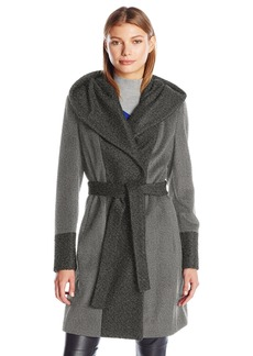 Calvin Klein Women's Wool Wrap Coat with Detachable Belt and Oversized Collar  S