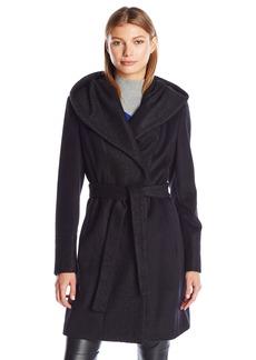 Calvin Klein Women's Wool Wrap Coat with Detachable Belt and Oversized Collar  S