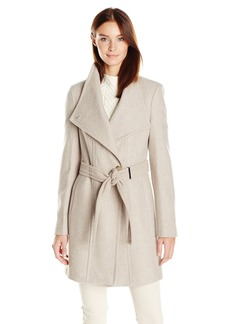 Calvin Klein Women's Wool Wrap Coat with Detachable Belt  XL