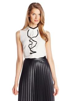 Calvin Klein Women's Woven Top Eggshell/black XL