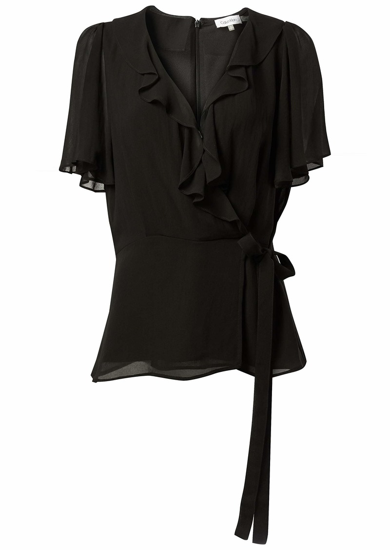 Calvin Klein Women's Wrap Top with Ruffle Sleeve
