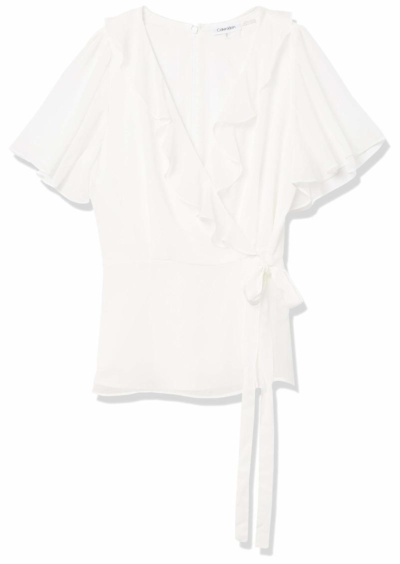 Calvin Klein Women's Wrap Top with Ruffle Sleeve
