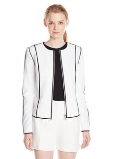 Calvin Klein Women's  Zip Front Jacket W Pipng