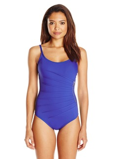 Calvin Klein Women's Zipper Starburst Maillot One Piece Swimsuit with Removable Soft Cups