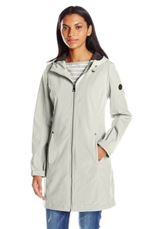 Calvin Klein Women's Zippered Soft Shell Rain Jacket with Hood  XS