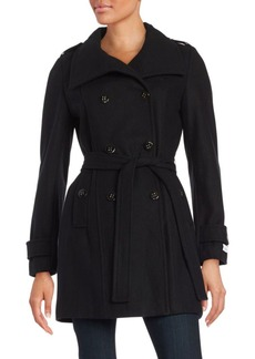 Calvin Klein Wool-Blend Double-Breasted Peacoat