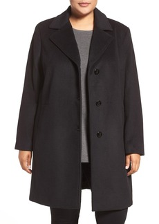 Calvin Klein Wool Blend Reefer Coat (Plus Size)