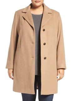 Calvin Klein Wool Blend Reefer Coat (Plus Size)