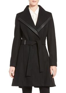 Calvin Klein Wool Blend Skirted Wrap Coat