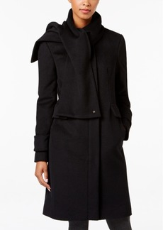 Calvin Klein Wool-Blend Walker Coat with Attached Scarf