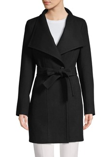 Calvin Klein Wool-Blend Wrap-Belt Coat