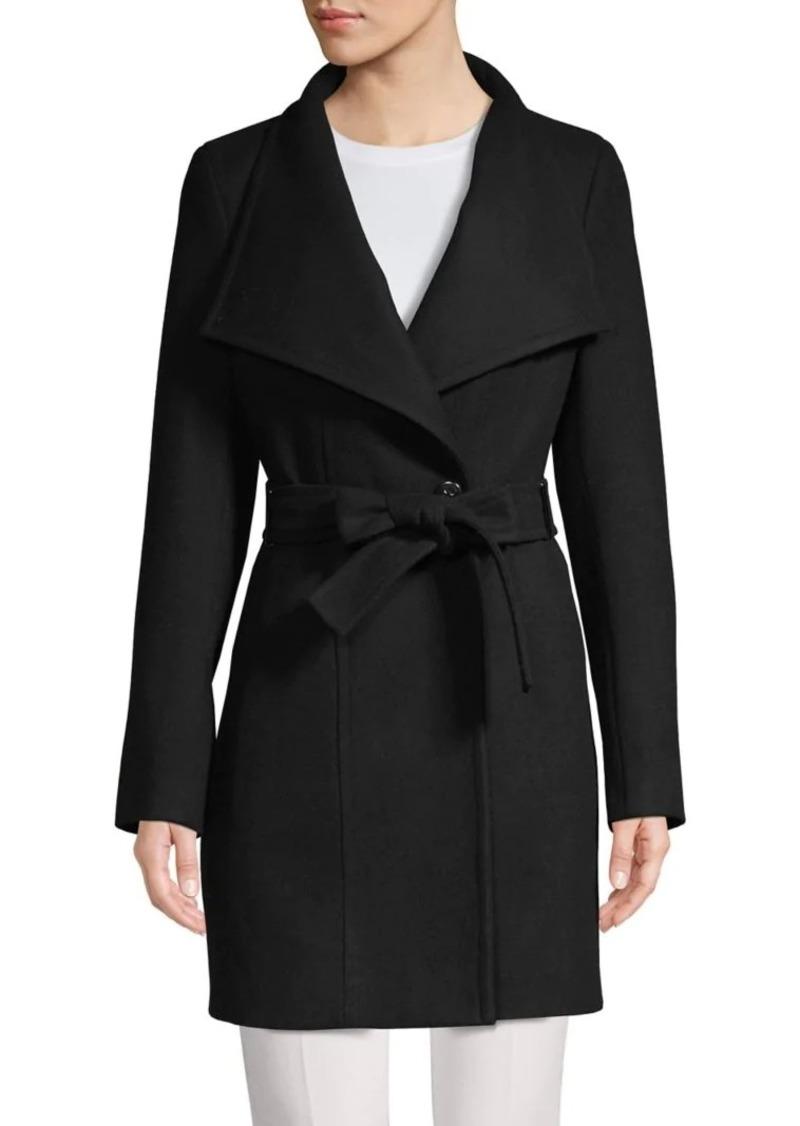 Calvin Klein Wool-Blend Wrap-Belt Coat